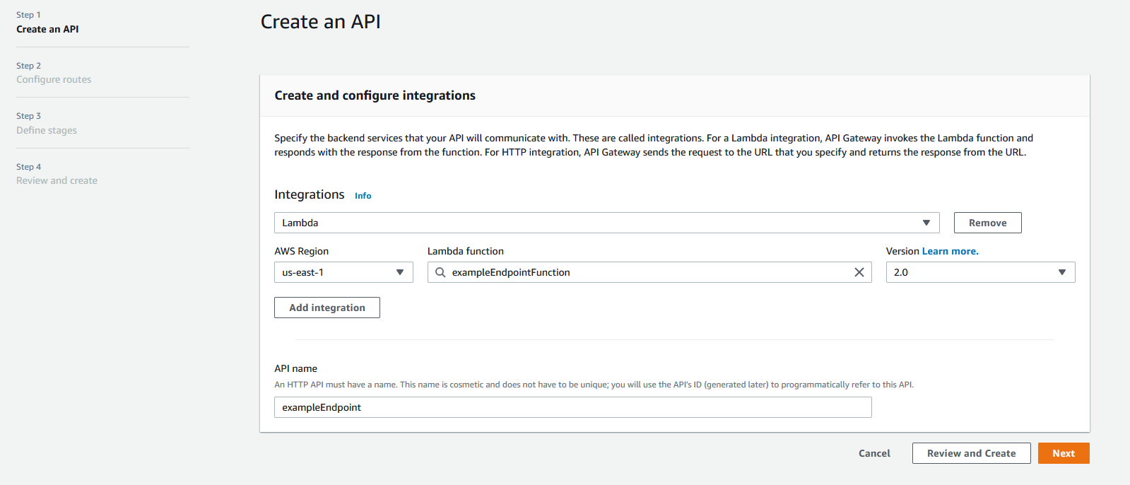 """The first step to creating an API. This API has a """"Lambda"""" integration with a Lambda function set as example endpoint function. The API name field is also filled in."""