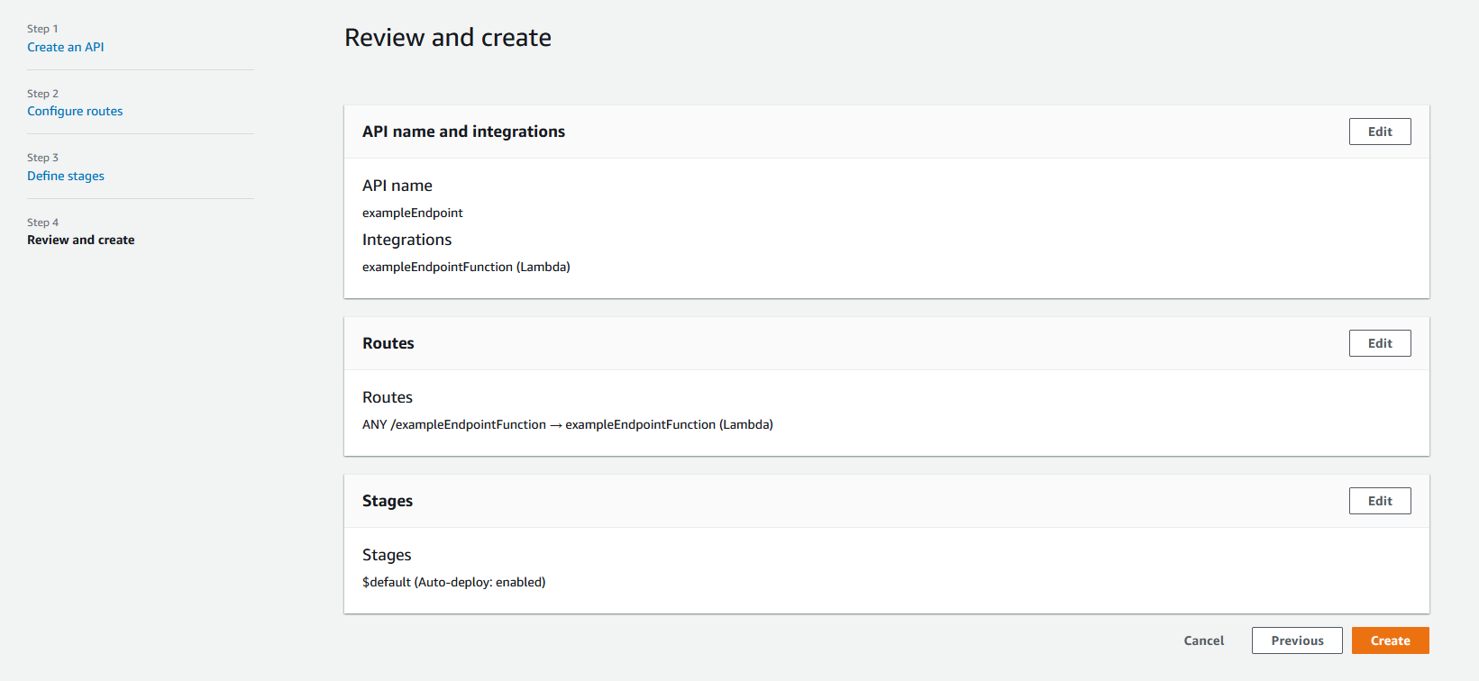 The last step for creating an API. This API has example endpoint as the name with a Lambda integration.