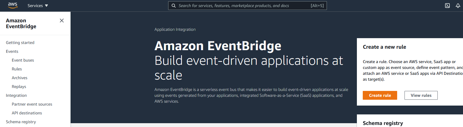 AWS EventBridge dashboard with some navigation along the left.