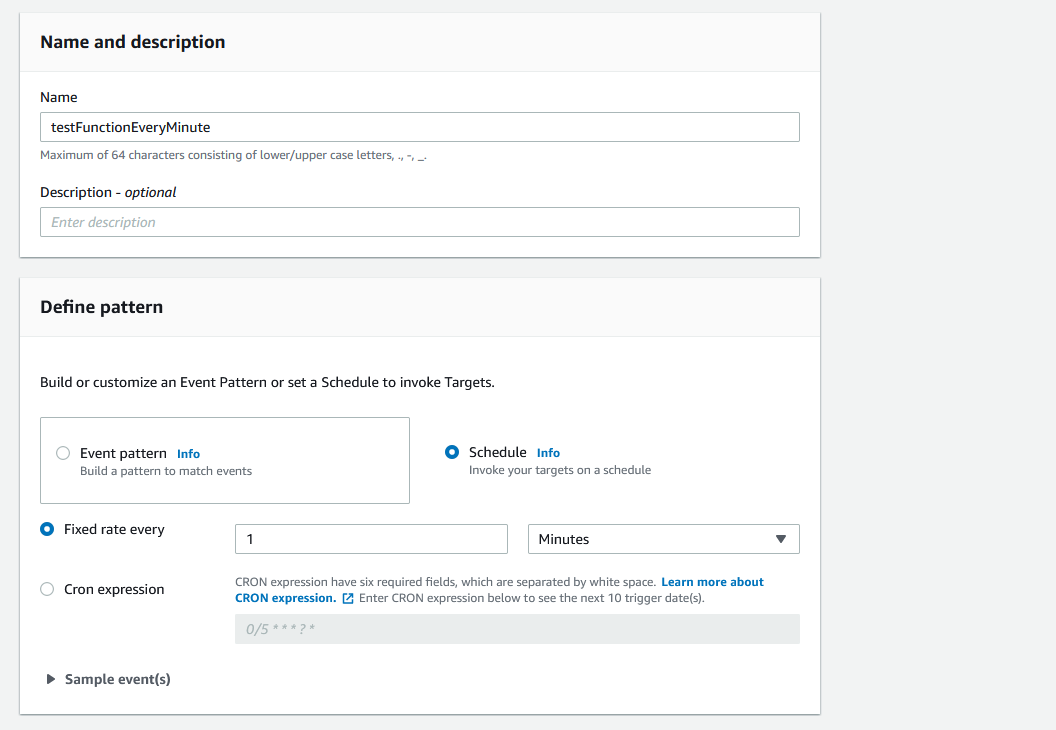 """EventBridge name and pattern settings. Name is set to """"test function every minute"""" and the pattern is set to a schedule of a fixed rate every 1 minutes."""