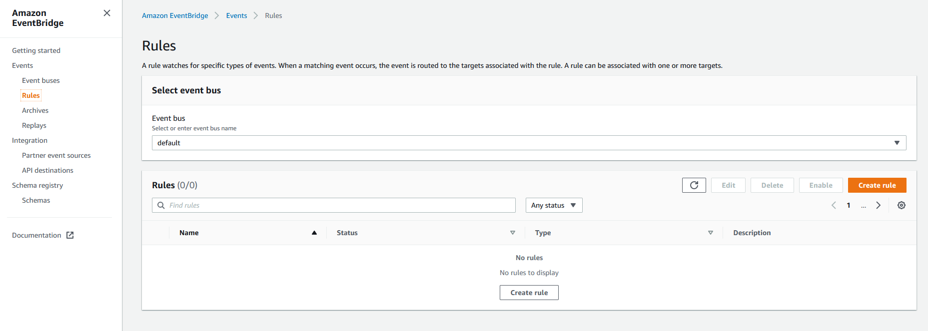 AWS EventBridge rules page with no rules currently created.