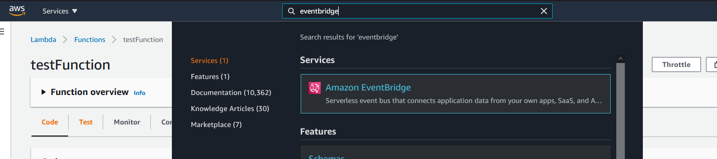 """The search bar in AWS showing """"eventbridge"""" in the search bar with a result of """"Amazon EventBridge""""."""