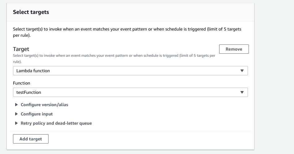 """EventBridge target settings. Shows a dropdown for target with """"Lambda function"""" entered and a dropdown for function with """"test function"""" entered."""