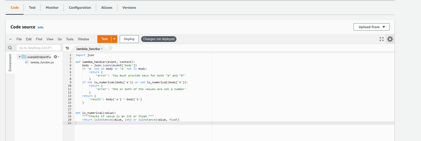 Example AWS Lambda function with our sample code above entered into the code tab.