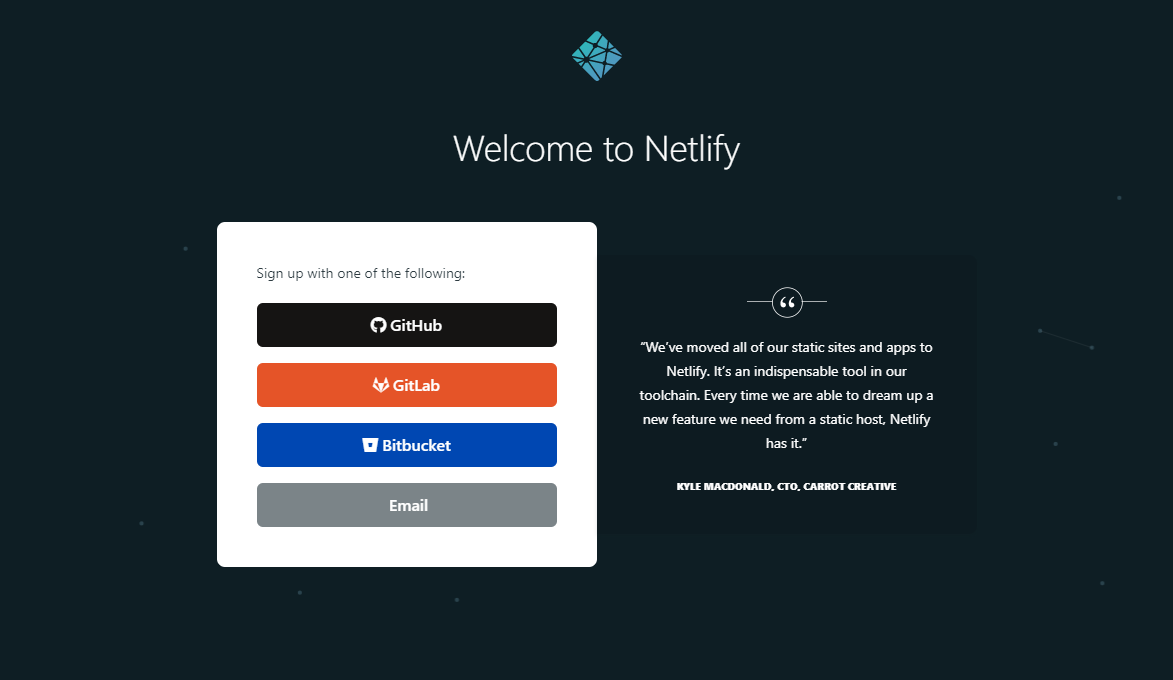 Netlify sign up page